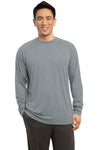 Sport-Tek ST700LS Mens Ultimate Performance Moisture Wicking Long Sleeve Crewneck T-Shirt Heather Grey Front