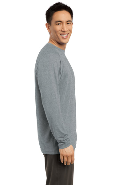 Sport-Tek ST700LS Mens Ultimate Performance Moisture Wicking Long Sleeve Crewneck T-Shirt Heather Grey Side