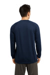 Sport-Tek ST700LS Mens Ultimate Performance Moisture Wicking Long Sleeve Crewneck T-Shirt Navy Blue Back
