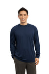Sport-Tek ST700LS Mens Ultimate Performance Moisture Wicking Long Sleeve Crewneck T-Shirt Navy Blue Front