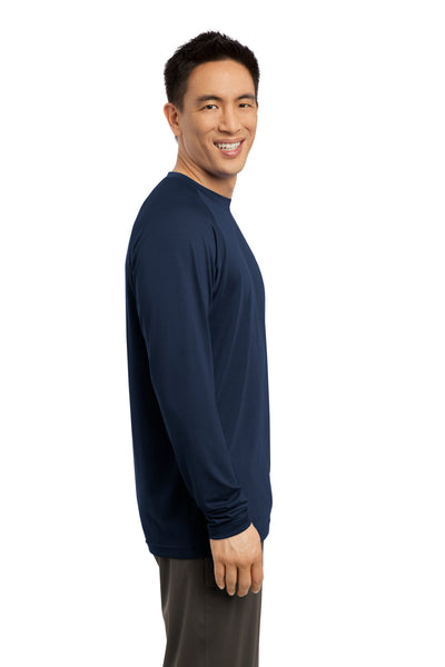 Sport-Tek ST700LS Mens Ultimate Performance Moisture Wicking Long Sleeve Crewneck T-Shirt Navy Blue Side