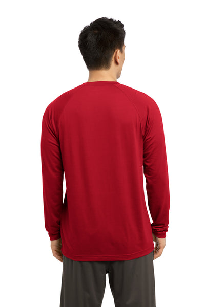 Sport-Tek ST700LS Mens Ultimate Performance Moisture Wicking Long Sleeve Crewneck T-Shirt Red Back