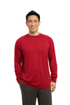 Sport-Tek ST700LS Mens Ultimate Performance Moisture Wicking Long Sleeve Crewneck T-Shirt Red Front