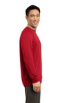 Sport-Tek ST700LS Mens Ultimate Performance Moisture Wicking Long Sleeve Crewneck T-Shirt Red Side