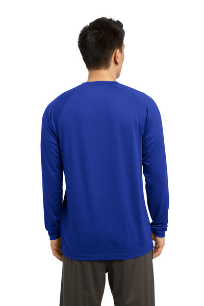 Sport-Tek ST700LS Mens Ultimate Performance Moisture Wicking Long Sleeve Crewneck T-Shirt Royal Blue Back