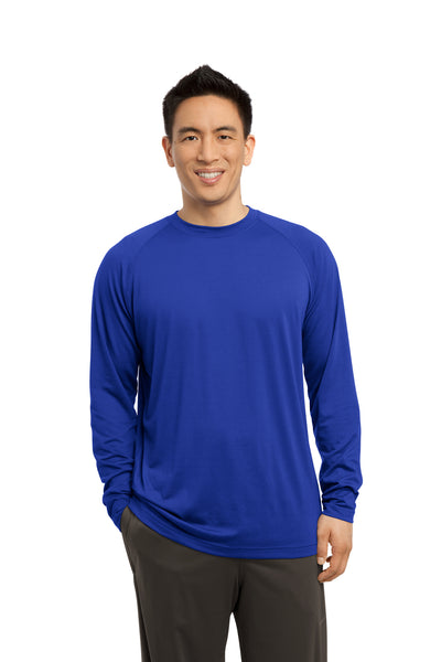 Sport-Tek ST700LS Mens Ultimate Performance Moisture Wicking Long Sleeve Crewneck T-Shirt Royal Blue Front