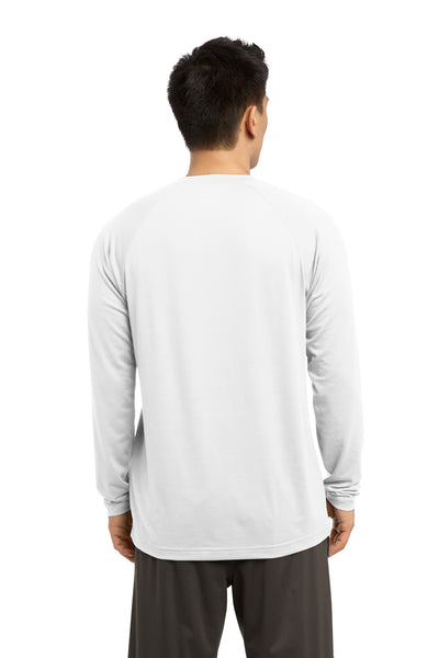 Sport-Tek ST700LS Mens Ultimate Performance Moisture Wicking Long Sleeve Crewneck T-Shirt White Back