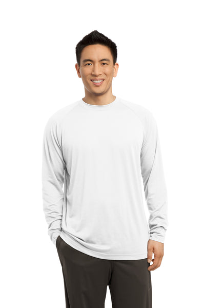 Sport-Tek ST700LS Mens Ultimate Performance Moisture Wicking Long Sleeve Crewneck T-Shirt White Front
