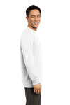 Sport-Tek ST700LS Mens Ultimate Performance Moisture Wicking Long Sleeve Crewneck T-Shirt White Side
