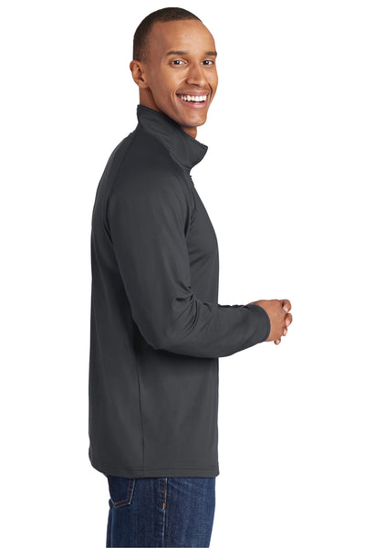 Sport-Tek ST850 Mens Sport-Wick Moisture Wicking 1/4 Zip Sweatshirt Charcoal Grey Side