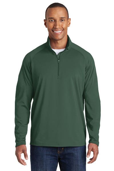Sport-Tek ST850 Mens Sport-Wick Moisture Wicking 1/4 Zip Sweatshirt Forest Green Front
