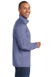 Sport-Tek ST850 Mens Sport-Wick Moisture Wicking 1/4 Zip Sweatshirt Heather Navy Blue Side