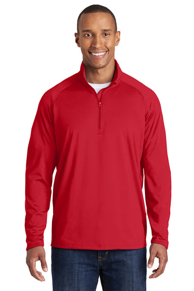 Sport-Tek ST850 Mens Sport-Wick Moisture Wicking 1/4 Zip Sweatshirt Red Front