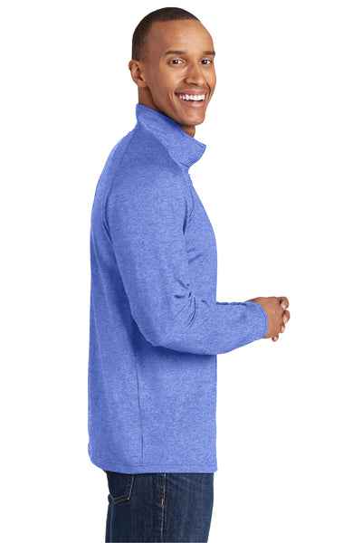 Sport-Tek ST850 Mens Sport-Wick Moisture Wicking 1/4 Zip Sweatshirt Heather Royal Blue Side