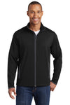 Sport-Tek ST853 Mens Sport-Wick Moisture Wicking Full Zip Jacket Black/Grey Front