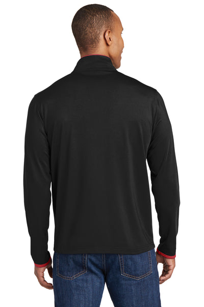 Sport-Tek ST853 Mens Sport-Wick Moisture Wicking Full Zip Jacket Black/Red Back