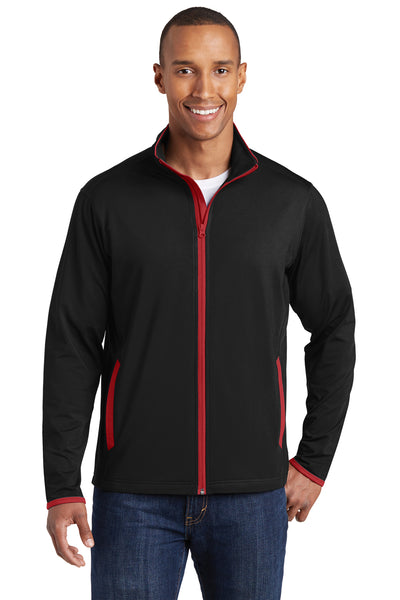 Sport-Tek ST853 Mens Sport-Wick Moisture Wicking Full Zip Jacket Black/Red Front