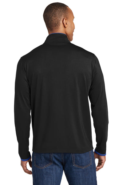 Sport-Tek ST853 Mens Sport-Wick Moisture Wicking Full Zip Jacket Black/Royal Blue Back