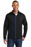 Sport-Tek ST853 Mens Sport-Wick Moisture Wicking Full Zip Jacket Black/Royal Blue Front