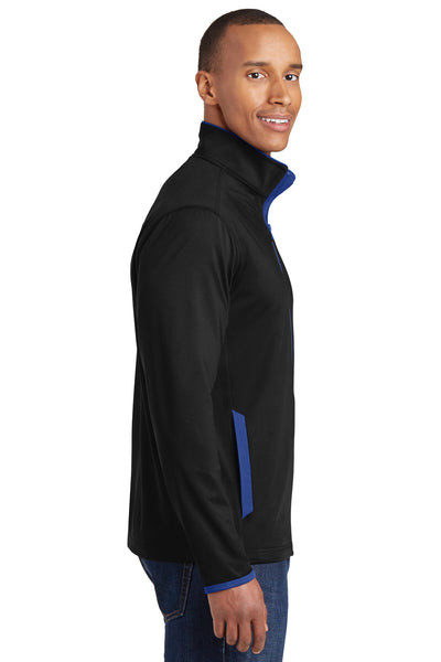 Sport-Tek ST853 Mens Sport-Wick Moisture Wicking Full Zip Jacket Black/Royal Blue Side