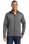 Sport-Tek ST853 Mens Sport-Wick Moisture Wicking Full Zip Jacket Heather Grey/Charcoal Grey Front