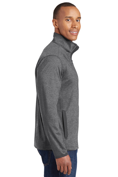 Sport-Tek ST853 Mens Sport-Wick Moisture Wicking Full Zip Jacket Heather Grey/Charcoal Grey Side