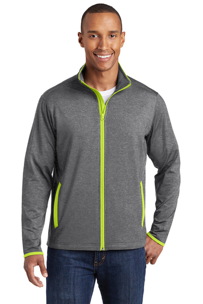 Sport-Tek ST853 Mens Sport-Wick Moisture Wicking Full Zip Jacket Heather Grey/Neon Green Front