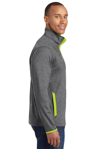 Sport-Tek ST853 Mens Sport-Wick Moisture Wicking Full Zip Jacket Heather Grey/Neon Green Side