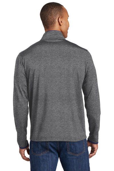 Sport-Tek ST853 Mens Sport-Wick Moisture Wicking Full Zip Jacket Heather Grey/Navy Blue Back