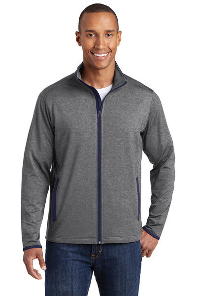 Sport-Tek ST853 Mens Sport-Wick Moisture Wicking Full Zip Jacket Heather Grey/Navy Blue Front