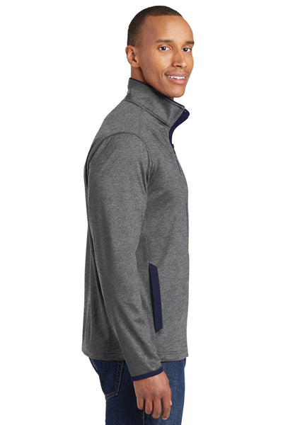 Sport-Tek ST853 Mens Sport-Wick Moisture Wicking Full Zip Jacket Heather Grey/Navy Blue Side