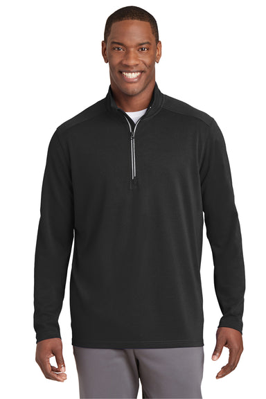 Sport-Tek ST860 Mens Sport-Wick Moisture Wicking 1/4 Zip Sweatshirt Black Front