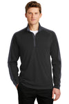 Sport-Tek ST861 Mens Sport-Wick Moisture Wicking 1/4 Zip Sweatshirt Black/Grey Front