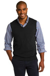 Port Authority SW286 Mens V-Neck Sweater Vest Black Front