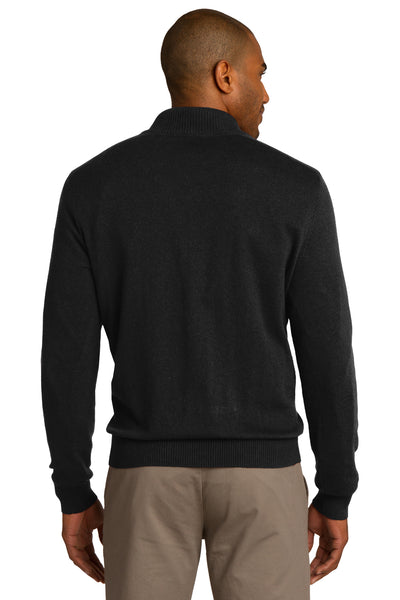 Port Authority SW290 Mens Long Sleeve 1/4 Zip Sweater Black Back