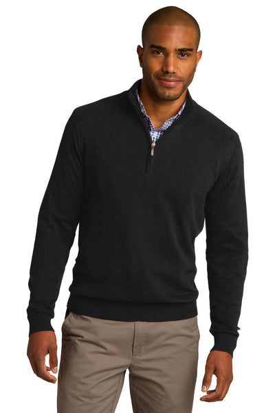 Port Authority SW290 Mens Long Sleeve 1/4 Zip Sweater Black Front