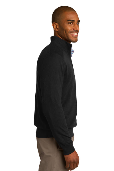 Port Authority SW290 Mens Long Sleeve 1/4 Zip Sweater Black Side