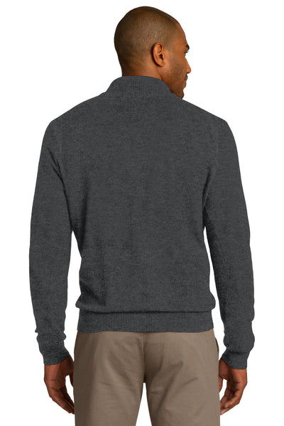 Port Authority SW290 Mens Long Sleeve 1/4 Zip Sweater Heather Charcoal Grey Back