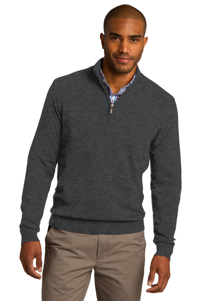 Port Authority SW290 Mens Long Sleeve 1/4 Zip Sweater Heather Charcoal Grey Front
