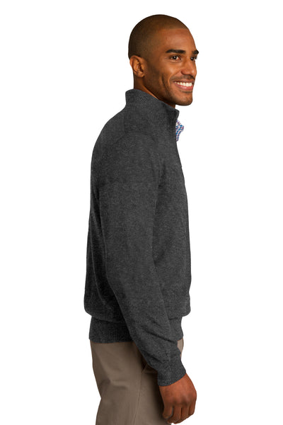 Port Authority SW290 Mens Long Sleeve 1/4 Zip Sweater Heather Charcoal Grey Side