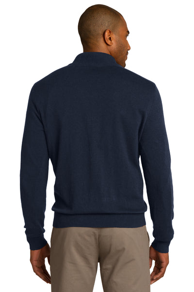 Port Authority SW290 Mens Long Sleeve 1/4 Zip Sweater Navy Blue Back
