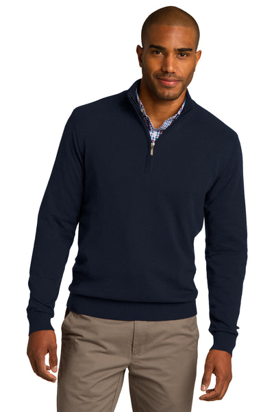 Port Authority SW290 Mens Long Sleeve 1/4 Zip Sweater Navy Blue Front