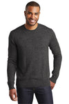 Port Authority SW417 Mens Long Sleeve Crewneck Sweater Black Front
