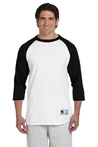 Champion T1397 Mens 3/4 Sleeve Crewneck T-Shirt White/Black Front