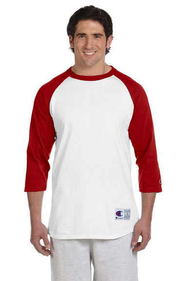 Champion T1397 Mens 3/4 Sleeve Crewneck T-Shirt White/Red Front