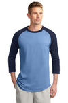 Sport-Tek T200 Mens 3/4 Sleeve Crewneck T-Shirt Carolina Blue/Navy Blue Front