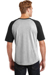 Sport-Tek T201 Mens Short Sleeve Crewneck T-Shirt Heather Grey/Black Back