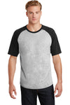 Sport-Tek T201 Mens Short Sleeve Crewneck T-Shirt Heather Grey/Black Front