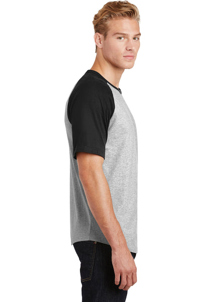 Sport-Tek T201 Mens Short Sleeve Crewneck T-Shirt Heather Grey/Black Side