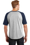 Sport-Tek T201 Mens Short Sleeve Crewneck T-Shirt Heather Grey/Navy Blue Back